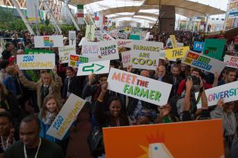 Delegates and Participants of the Slow Food International Movement, Terra Madre Giovani - We Feed the Planet - walking toward the Slow Food podium at Milan Expo 2015 Photo Credit: Mimesilab, Source: Slow Food Youth Network